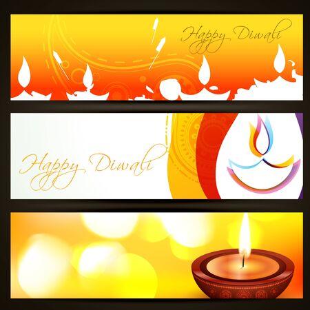 indian light: hermoso juego de colores de diwali encabezados Vectores