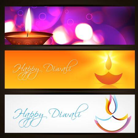 diwali greeting: set of stylish diwali headers Illustration