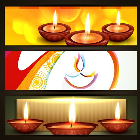 diwali crakers headers set Vector