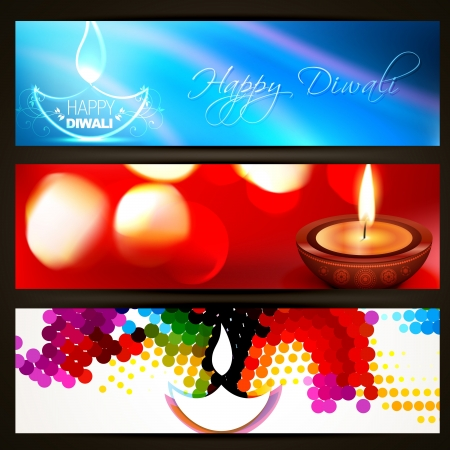 stylish set of diwali headers Vector