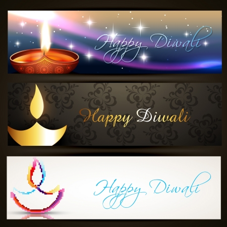 deepawali: set of stylish diwali headers Illustration