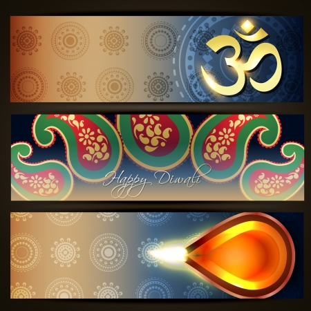 beautiful colorful set of diwali headers Stock Vector - 15655995