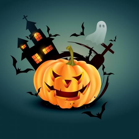 ghost house: vector stylish halloween greeting design illustration