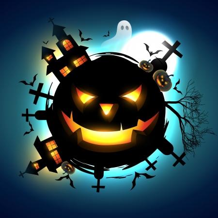 ghost house: vector scary halloween design illustration Illustration