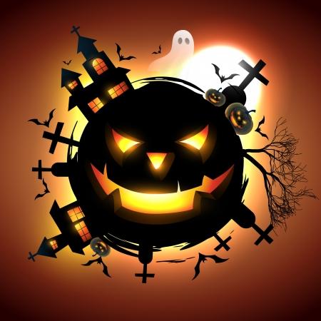 spooky house: vector halloween design illustration