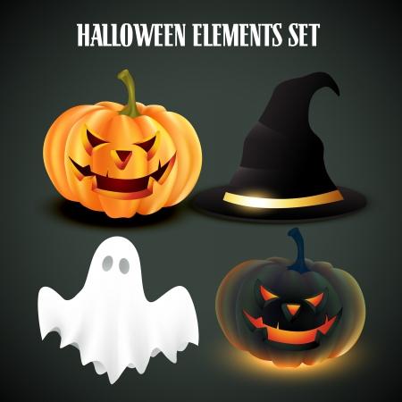 halloween ghost: vector set of halloween elements