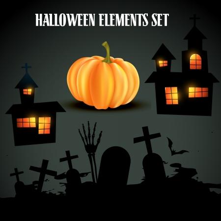 vector set of halloween elements Stock Vector - 15782317