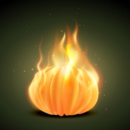 fairytale background: vector halloween pumpkin burning in fire Illustration