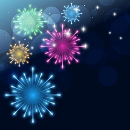 tűzijáték: vektor színes tűzijáték tervezés háttér