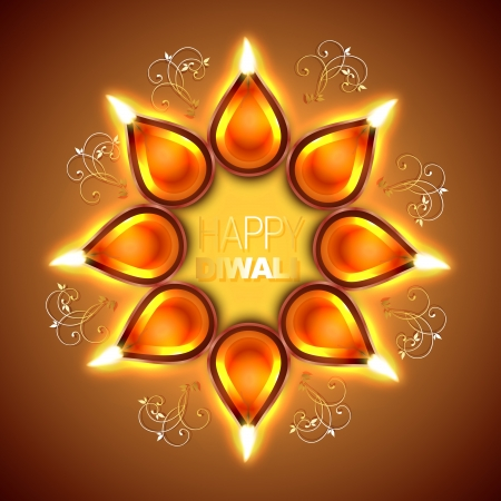 vector shiny diwali diya illustration
