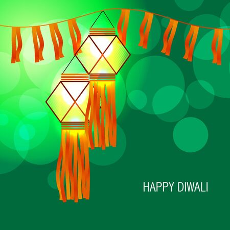 vector beautiful diwali glowing lamp Vector