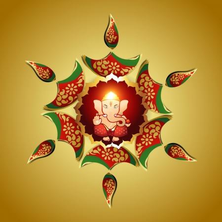 deepawali: dise�o hermoso del vector de indio dios Ganesha
