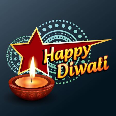 beautiful happy diwali greeting vector background Vector