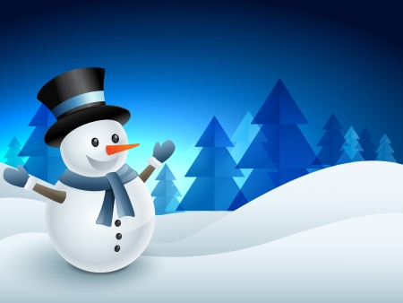 snowman 3d: vector snowman winter seasonal background