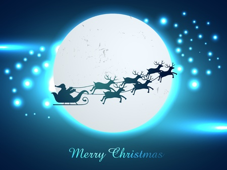 vector christmas chariot flying design illustration Vector