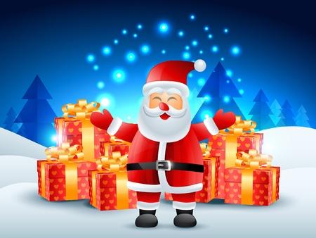cartoon hat: santa claus with gift illustration