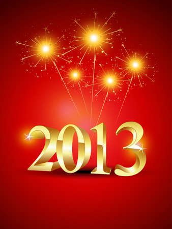 thirteen: happy new year 2013 vector background