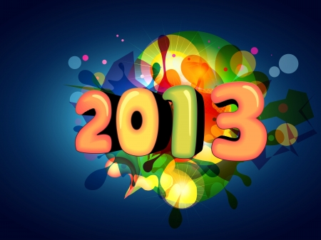 thirteen: stylish vector colorful happy new year design Illustration