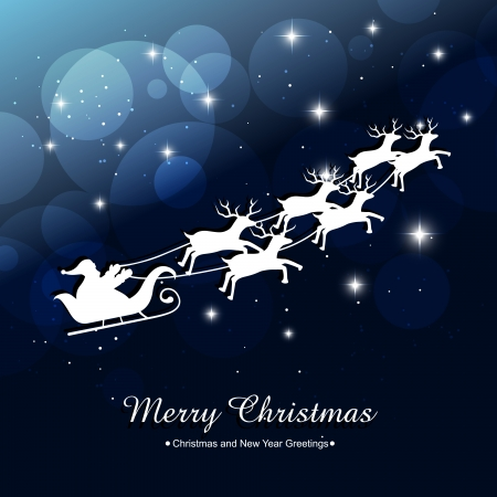 santa claus riding sleigh illustration Vector