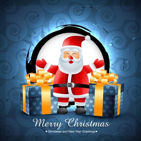 belt up: santa claus with gifts. Seasonal background Illustration