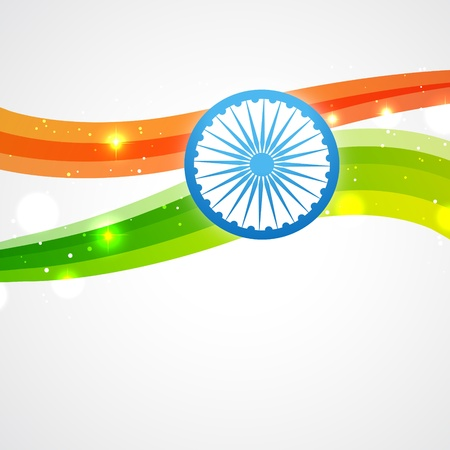 bharat: shiny indian flag vector design Illustration