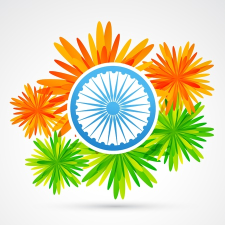vector indian flag made of flower Vector