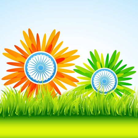 vector indian flag flower art design Vector