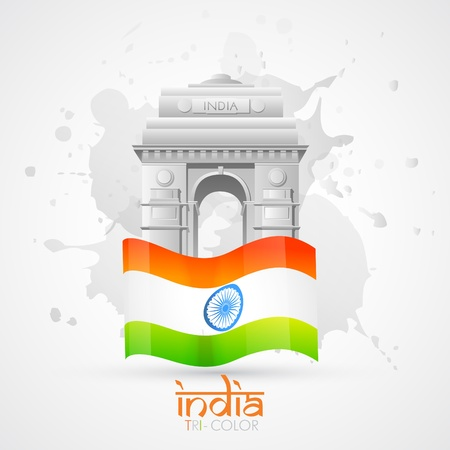 aug: vector india gate with indian flag Illustration