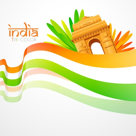 india gate: vector wave style indian flag with india gate