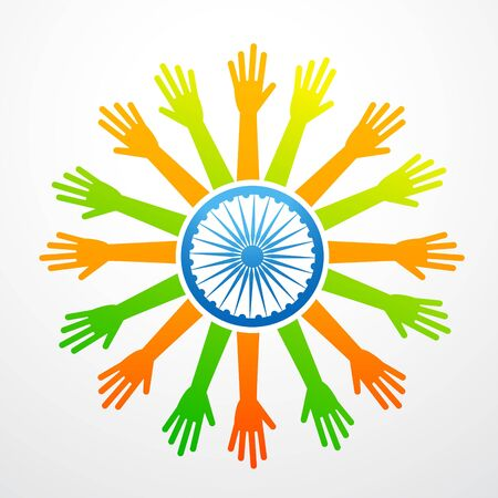 vector indian flag made of hands Vector
