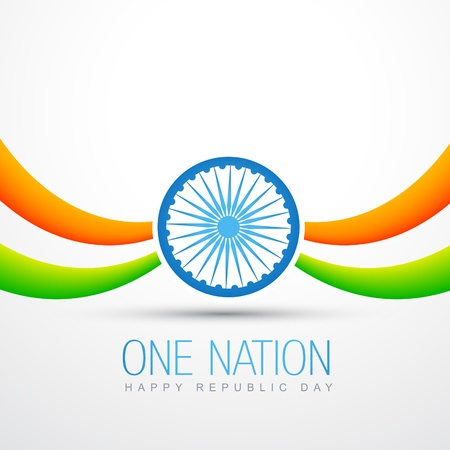 beautiful vector indian flag design in wave style Vector
