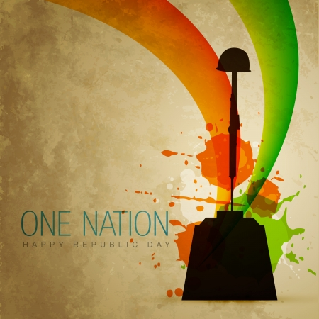 republic day: vector indian patriotic flag style art Illustration