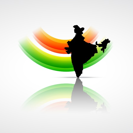 india culture: indian flag with map of india Illustration