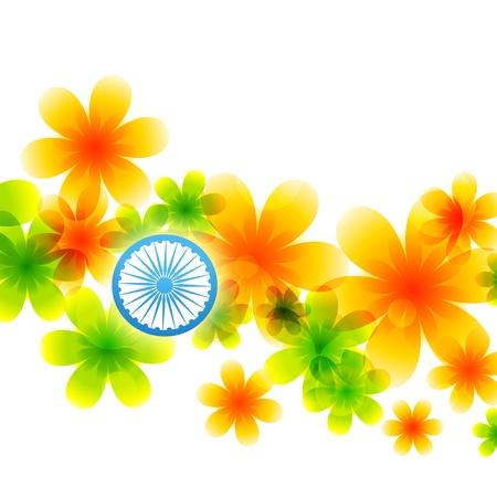 agosto: bandiera indiana di fiori Vettoriali