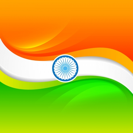 vector indian flag design in wave style Vector