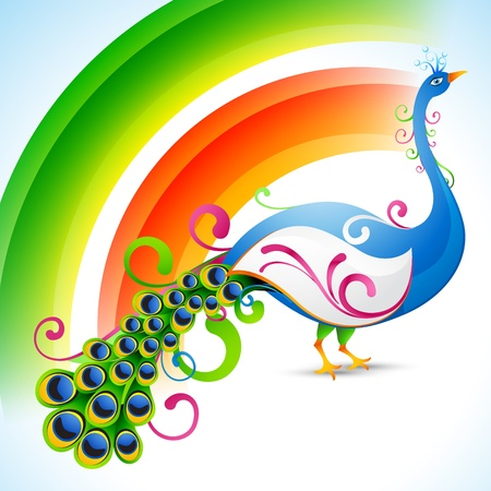 bharat: vector peacock design with rainbow style background