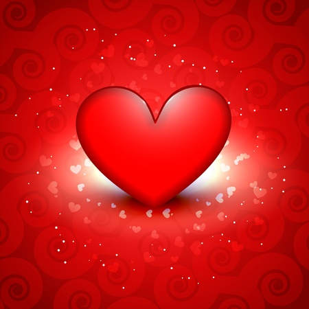 beautiful shiny red heart vector background Stock Vector - 17727763