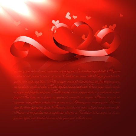 vector shiny red heart design background Stock Vector - 17727780