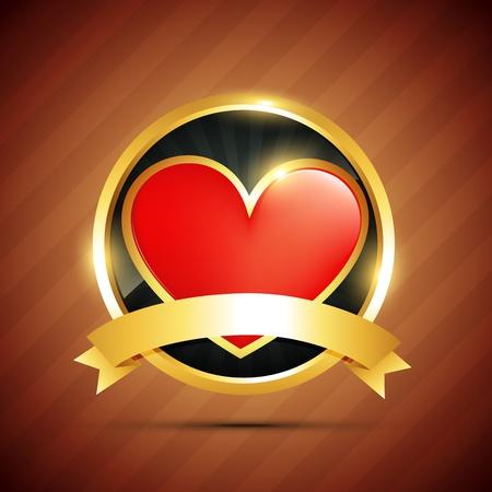 beautiful vector heart badge design Stock Vector - 17727706