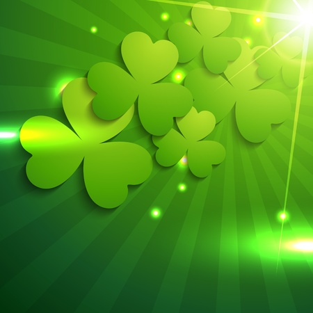 beautiful shiny st patrick's day leaf design Vector