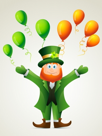 vector happy leprechaun cartoon illustration Stock Vector - 17988106