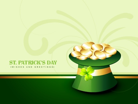 vector green saint patricks day hat with golden coins Vector
