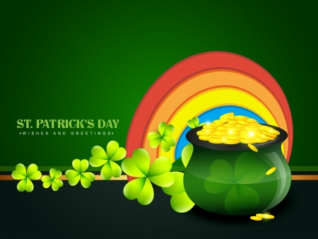 golden pot: vector golden coins saint patricks day design Illustration