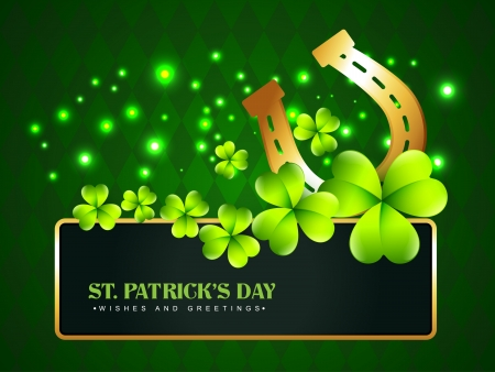 lucky day: vector horse shoe saint patricks day background
