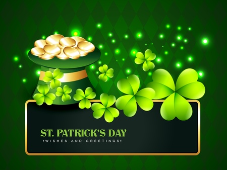 vector saint patrick's day hat with golden coins and shamrock leafs Vector