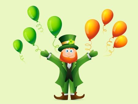 17th: vector happy leprechaun cartoon illustration Illustration