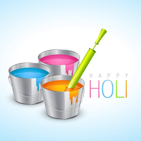 rang: vector illustration of colorful holi festival bucket with colors and pichkari