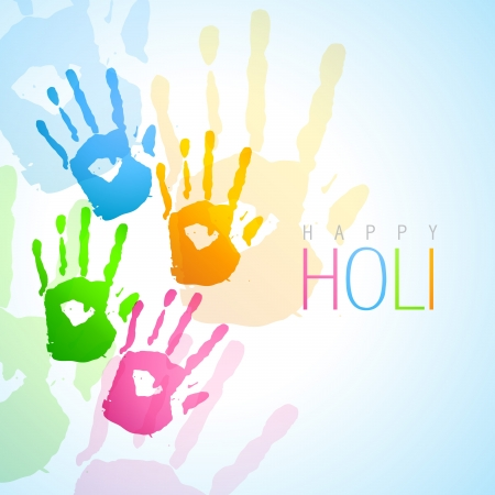 vector colorful hands holi festival background Illustration