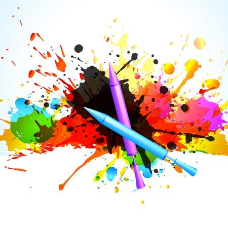 happy holi: vector colorful holi splashes background