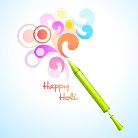 beautiful holi pichkari vector background design Illustration